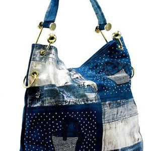 Denim Tote Hobo Shopper Shoulder Handbag